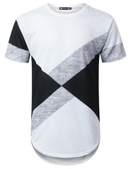 WHITE Diagonal Colorblock Longline T-shirt - URBANCREWS