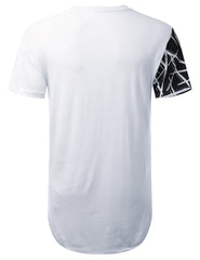 WHITE Scratch Colorblock Longline T-shirt - URBANCREWS