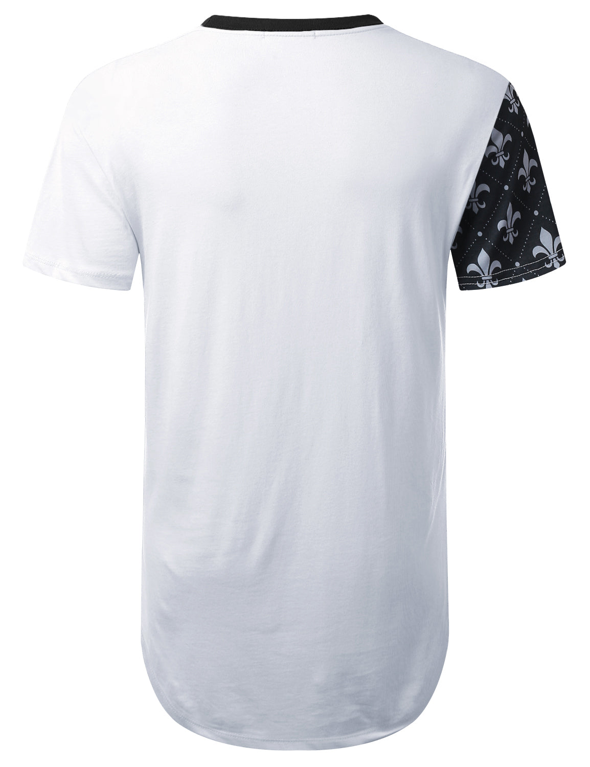 WHITE Pattern Colorblock Longline T-shirt - URBANCREWS