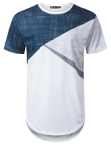 Denim Colorblock Longline T-shirt