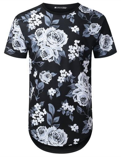 Black and White Floral Longline T-shirt
