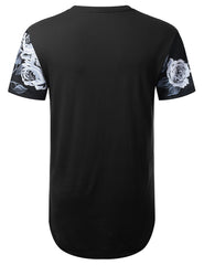 BLACK Black and White Floral Longline T-shirt - URBANCREWS