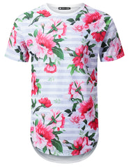 WHITE Striped Floral Longline T-shirt - URBANCREWS