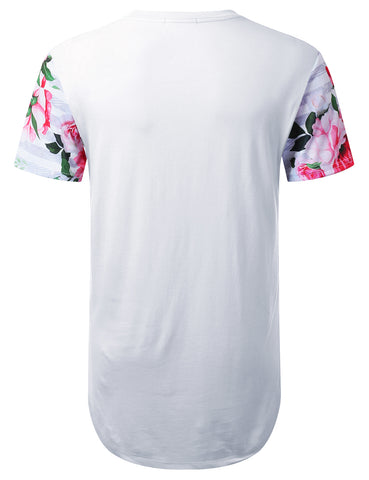 Striped Floral Longline T-shirt