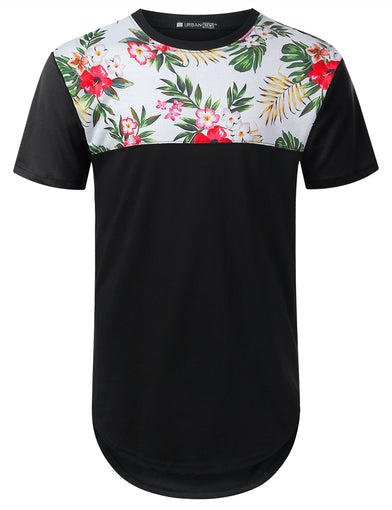 Rose of Sharon Panel Longline T-shirt