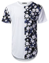 WHITE Half Panel Floral Longline T-shirt - URBANCREWS