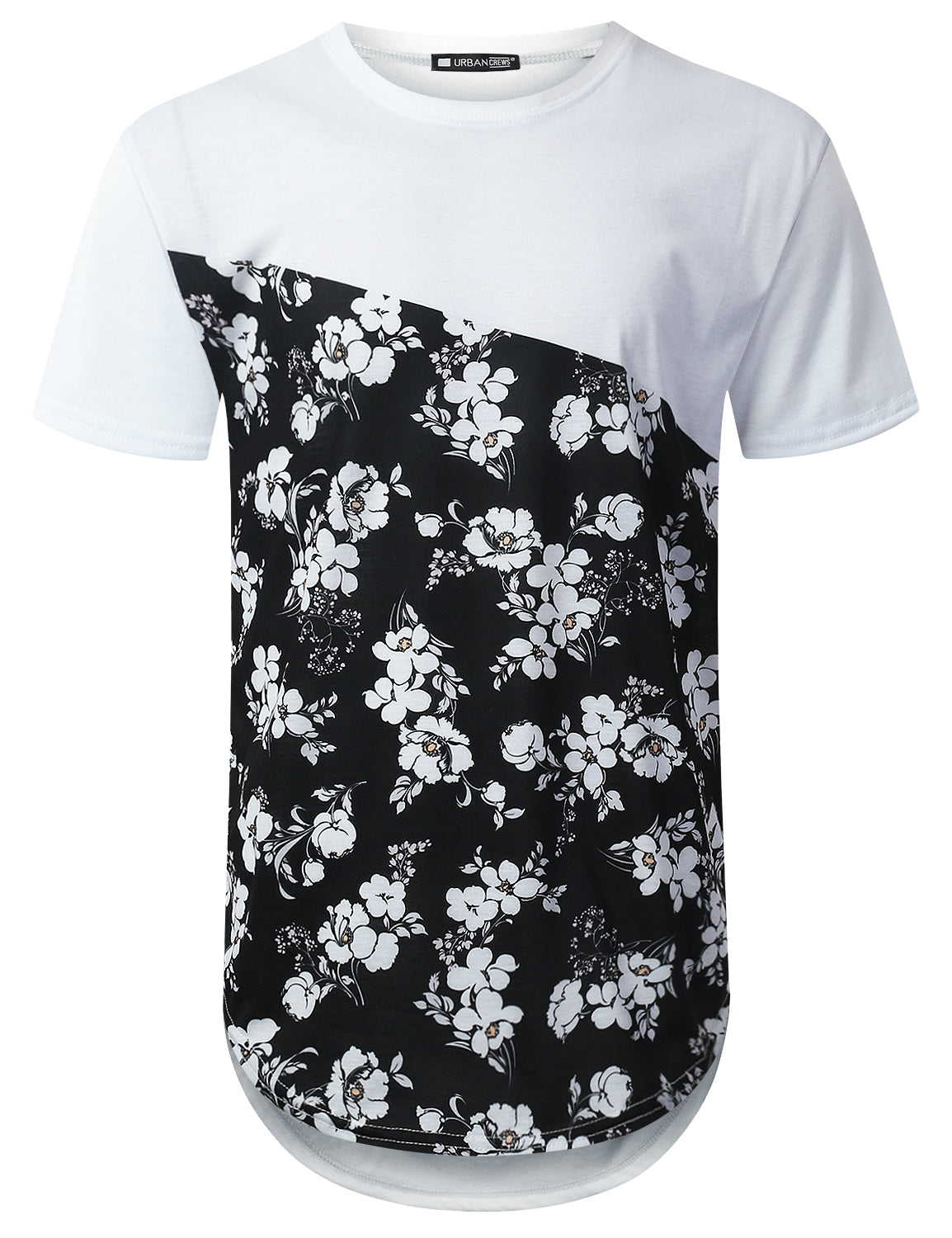 WHITE Bottom Panel Floral Longline T-shirt - URBANCREWS
