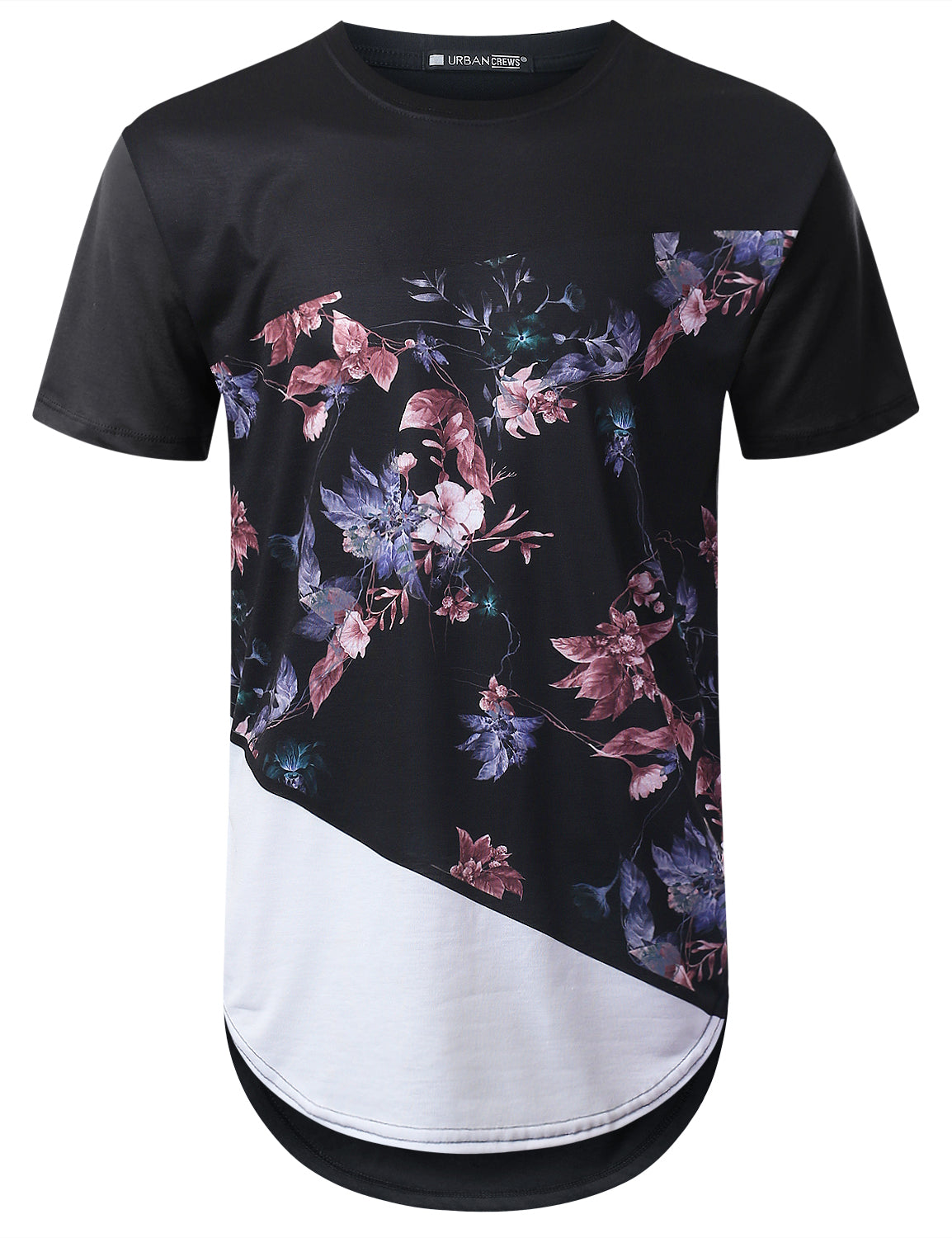 BLACK Fashion Panel Floral Longline T-shirt - URBANCREWS