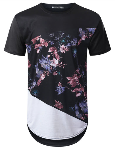 Fashion Panel Floral Longline T-shirt