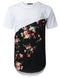 WHITE Slice Panel Floral Longline T-shirt - URBANCREWS