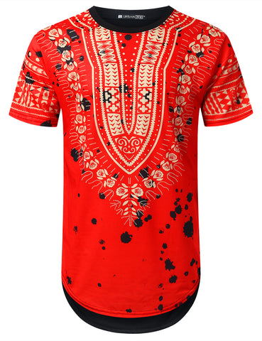 Splattered Dashiki Longline T-shirt