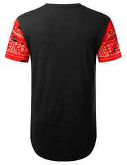 RED Splattered Dashiki Longline T-shirt - URBANCREWS