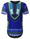 BLUE Ocean Dashiki Longline T-shirt - URBANCREWS