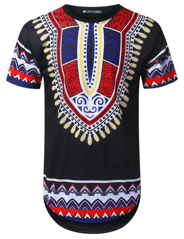 Patterned Dashiki Longline T-shirt