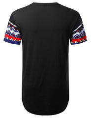 BLACK Patterned Dashiki Longline T-shirt - URBANCREWS