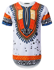 WHITE Dotted Dashiki Longline T-shirt - URBANCREWS