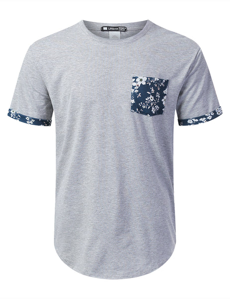 HGRAY Spring Floral Graphic Pocket T-shirt - URBANCREWS