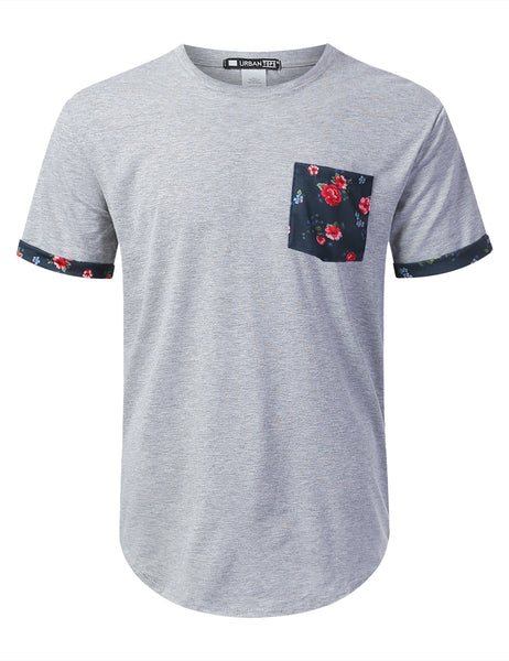 HGRAY Summer Floral Graphic Pocket T-shirt - URBANCREWS