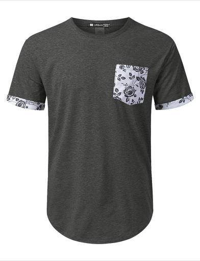Draw Floral Graphic Pocket T-shirt