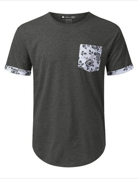 CHARCOAL Draw Floral Graphic Pocket T-shirt - URBANCREWS