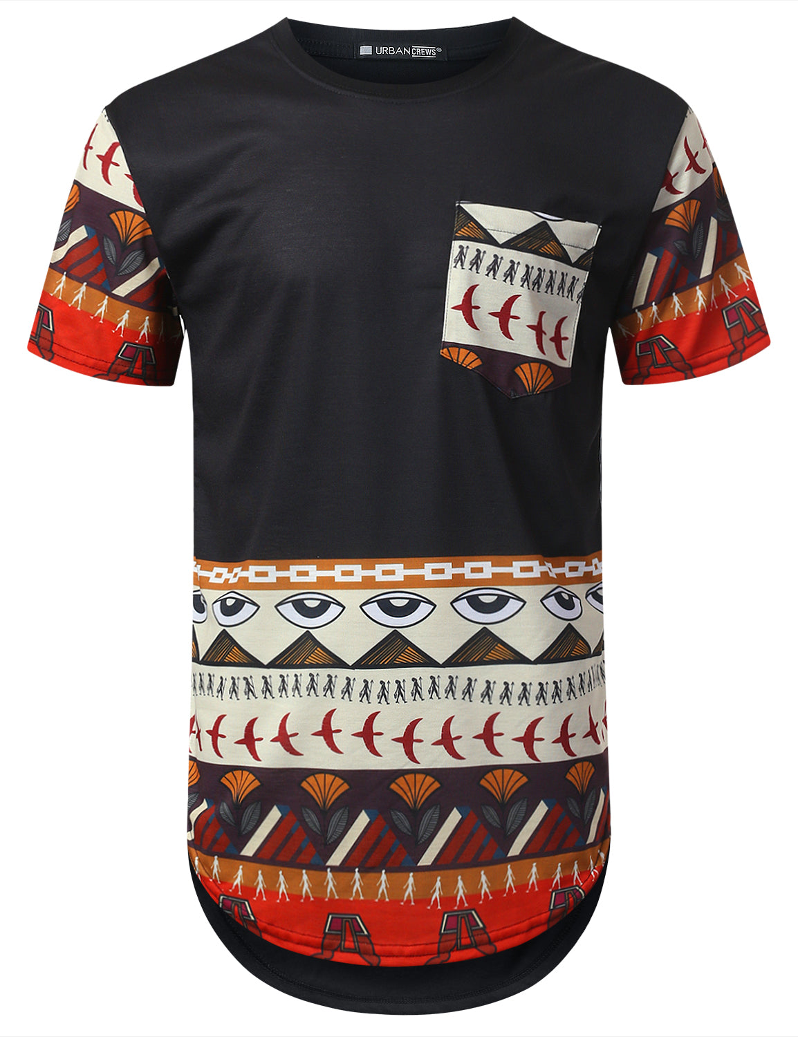 BLACK Egyptian Dashiki Longline T-shirt - URBANCREWS