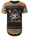BLACK Egypt Pyramid Dashiki Longline T-shirt - URBANCREWS