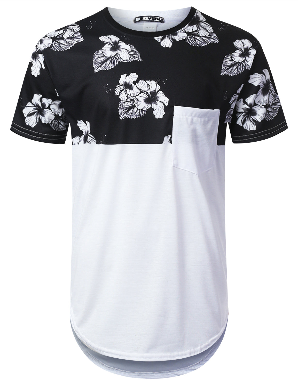 WHITE Rose Panel Pocket Longline T-shirt - URBANCREWS