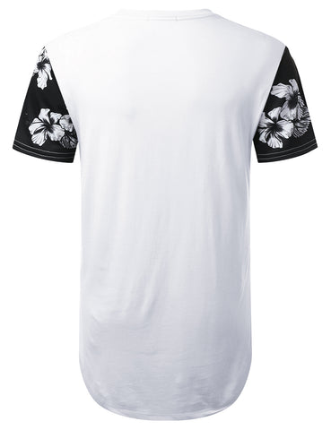 Rose Panel Pocket Longline T-shirt