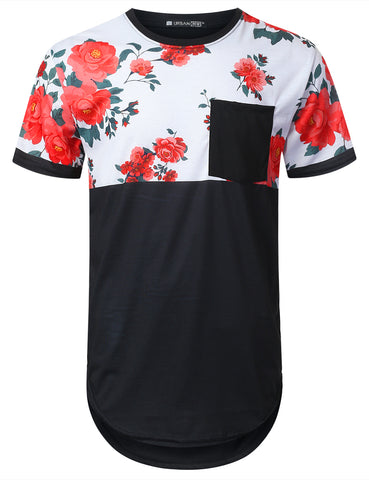 Floral Panel Pocket Longline T-shirt