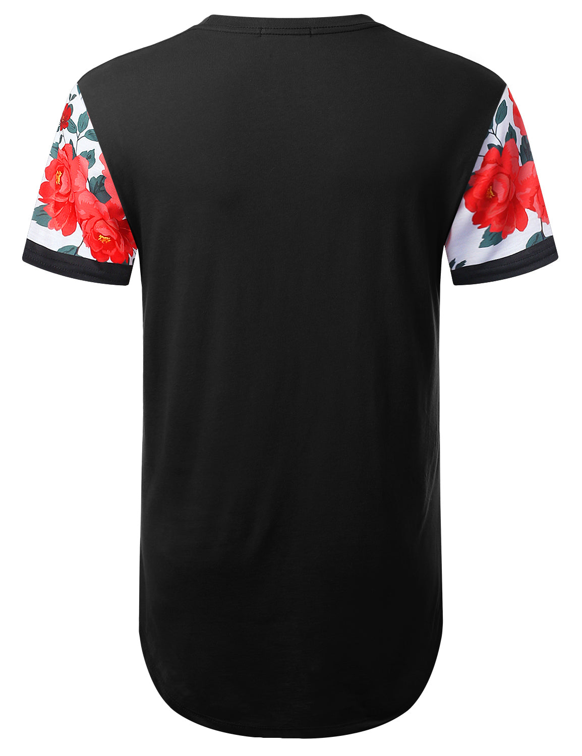 BLACK Floral Panel Pocket Longline T-shirt - URBANCREWS