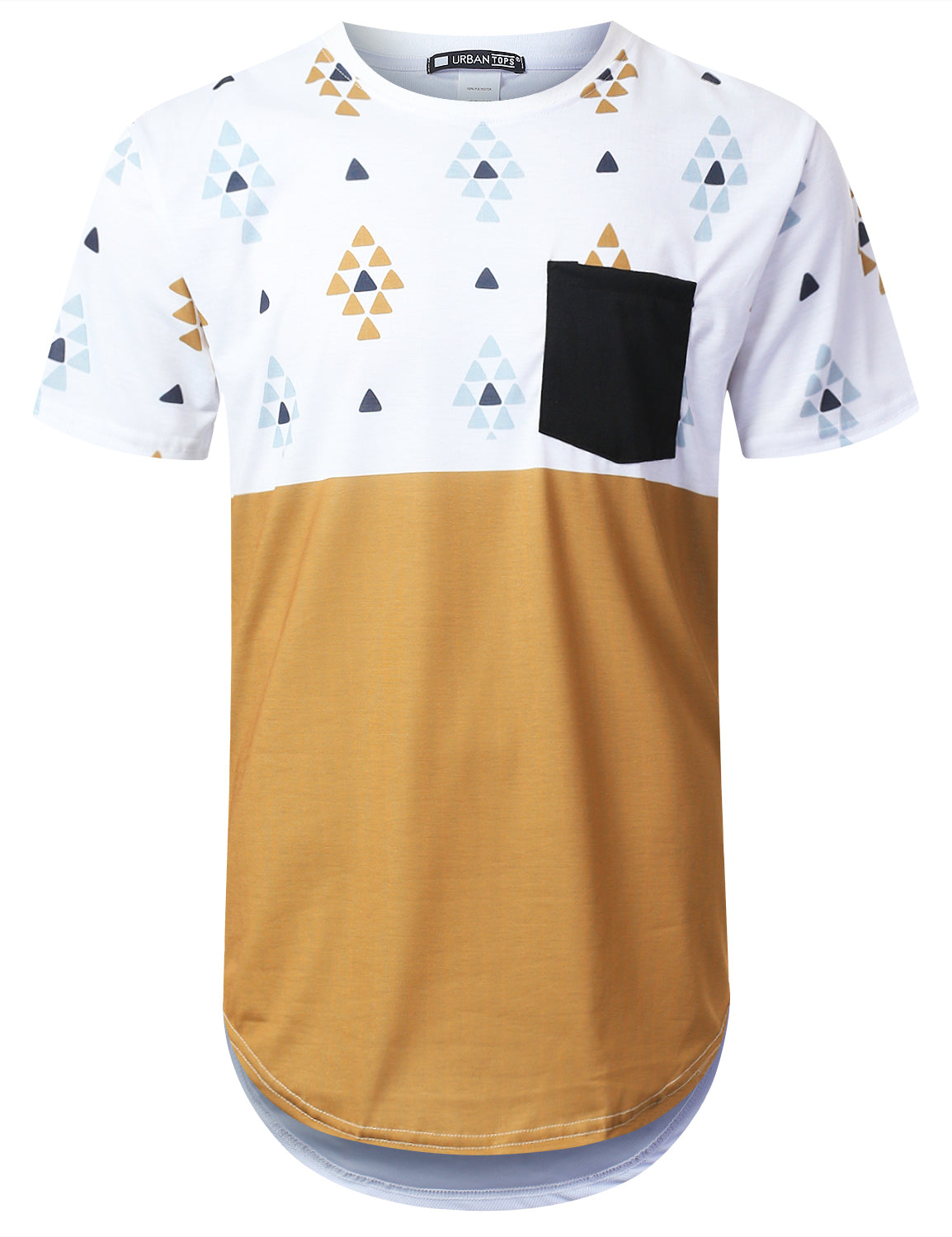 WHITE Triangle Panel Pocket Long T-shirt - URBANCREWS