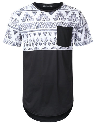 Water Aztec Panel Pocket Long T-shirt