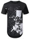BLACK White Splatter Pocket Long T-shirt - URBANCREWS