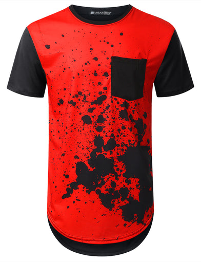 Red Splatter Pocket Long T-shirt