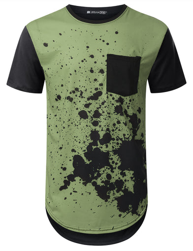 Olive Splatter Pocket Long T-shirt