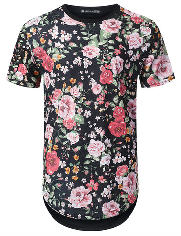 Baby Pink Floral Longline T-shirt