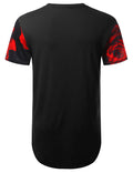 BLACK Red Rose Floral Longline T-shirt - URBANCREWS