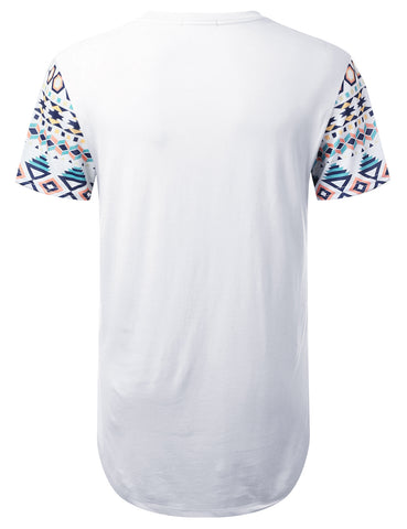 Panel Aztec Pocket Longline T-shirt