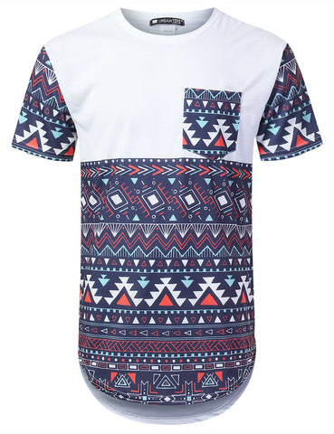 Patterned Panel Pocket Longline Tee