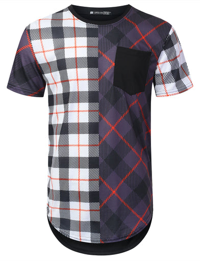 Plaid Half Panel Longline T-shirt