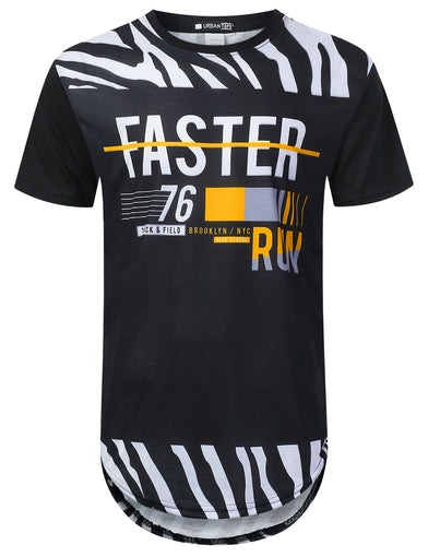 Zebra Pattern Panel Longline T-shirt