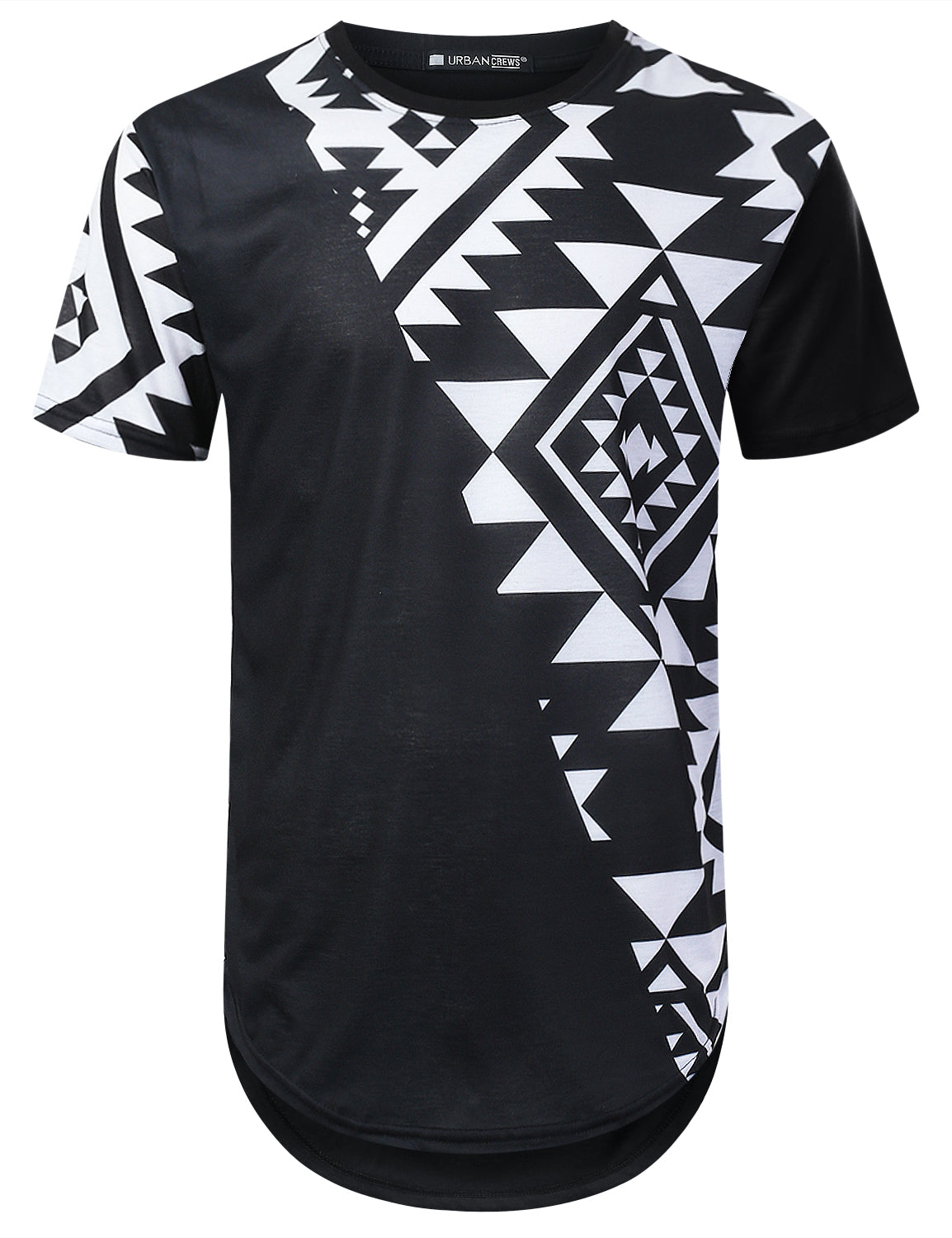 BLACK Aztec Diagonal Panel Longline T-shirt - URBANCREWS
