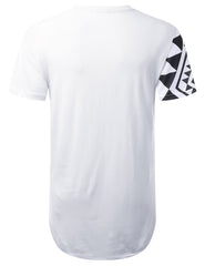 WHITE Aztec Diagonal Panel Longline T-shirt - URBANCREWS