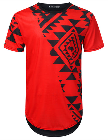 Aztec Diagonal Panel Longline T-shirt