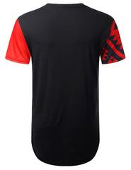 RED Aztec Diagonal Panel Longline T-shirt - URBANCREWS