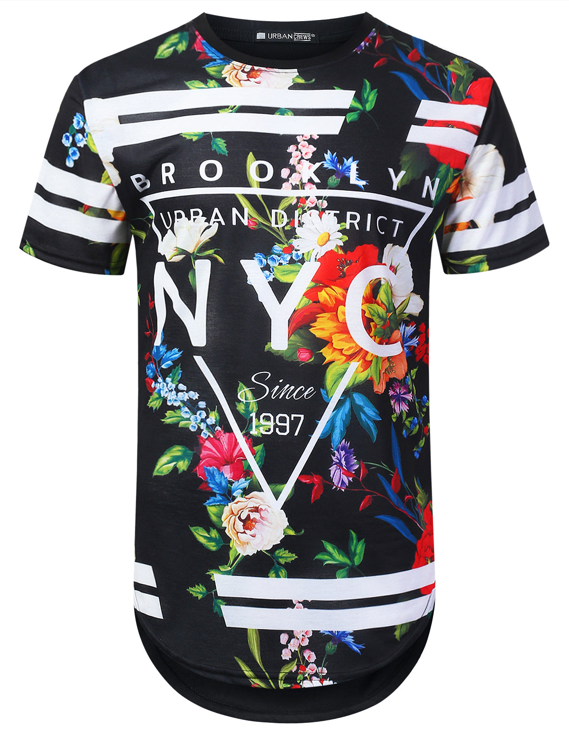 BLACK NYC Floral Longline T-shirt - URBANCREWS