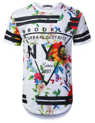 WHITE NYC Floral Longline T-shirt - URBANCREWS