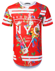 RED NYC Floral Longline T-shirt - URBANCREWS