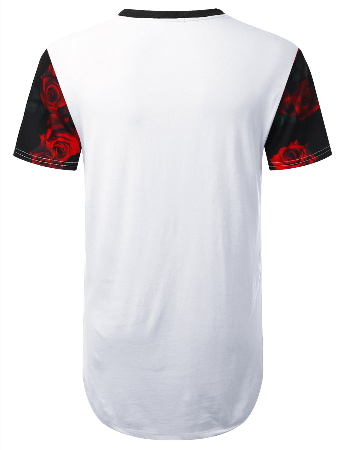 WHITE Rose 95 Panel Longline T-shirt - URBANCREWS