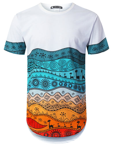 Colorful Aztec Print Longline T-shirt
